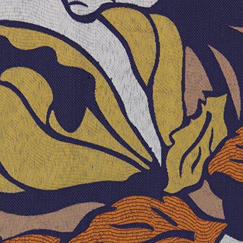 Fantasy Polsterstoff Möbelstoff Bezugstoff Meterware dick gewebte Struktur Stoff Vintage Design Blumen Reto Look, Breite ca. 1,45 m - Farbe 80 Blue -