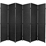 Negro plegable paneles de cordón (privacidad, de mimbre/separadores de ambiente, haya, 6 Panel