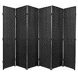 Biombo de rafia ideal para separar ambientes o habitaciones en color negro, haya, 6 Panel