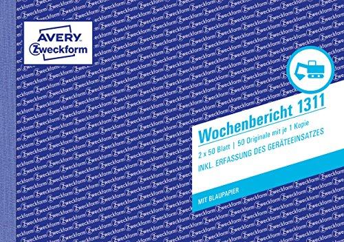 AVERY Zweckform 1311 Wochenbericht (A5 quer, mit 2 Blatt Blaupapier) 2x50 Blatt, weiß/gelb