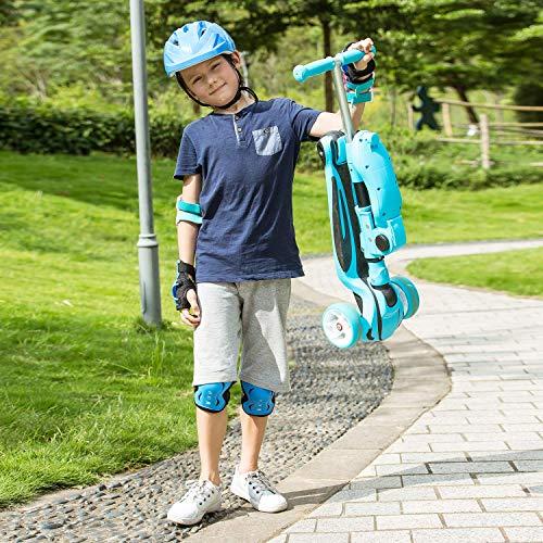 61TvuQU6dsL - WeSkate Patinetes para Niños con Asiento Plegable, Patinetes de Altura Ajustable para Niños y Niñas con 3 Ruedas de LED Extra Anchas Patinetes Plegable Ligero para Niños (Almacén Europeo)