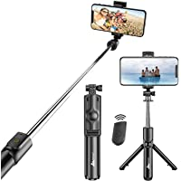 WeCool Bluetooth Extendable Selfie Sticks with Wireless Remote and Tripod Stand, 3-in-1 Multifunctional Selfie Stick…