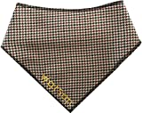 Spoilt Rotten Pets Personalised Designer Brown Tweed Dog Bandana - Size 3 - Fantastic Quality Adjustable Design - For Medium To Larger Breeds Of Dog