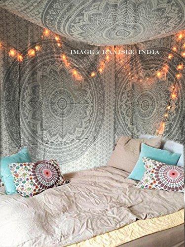 Brillante Plata Ombre Mandala Tapiz Reina, Bohemian Mandala, Psychedelic pared colgantes tapiz, Hippie hippie elefante Tamaño 220* 240cms de raajsee