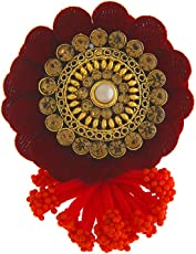 Anuradha Art Maroon Colour Flower Styled Designer Saree/Sari Pin for Women/Girls