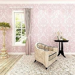 HANMERO®Barroco diseño Papel pintado vintage flores Murales pared no tejido papel de pared dormitorios/salón/hotel/ color rosa, 0.53M*10M