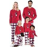 douleway Pijamas de Navidad Familia, Ropa de Noche Homewear Algodón Camisas de Manga Larga + Pantalones Largos Sudadera Invie