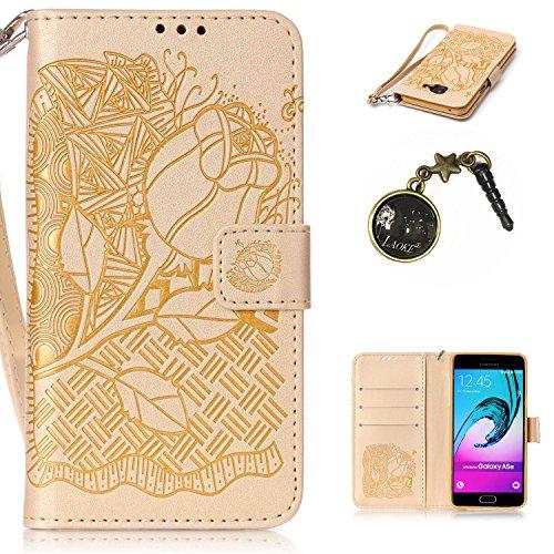 Preisvergleich Produktbild für Smartphone Samsung Galaxy A5 (6) SM-A510F (2016) Hülle,  Leder Tasche für Samsung Galaxy A5 (6) SM-A510F (2016) Flip Cover Handyhülle Bookstyle mit Magnet Kartenfächer Standfunktion + Staubstecker (11YY)