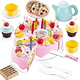 Vococal 54pcs Juguete de Cortar frutas pastel / Juguete Conjunto del juego comida para niños bebés