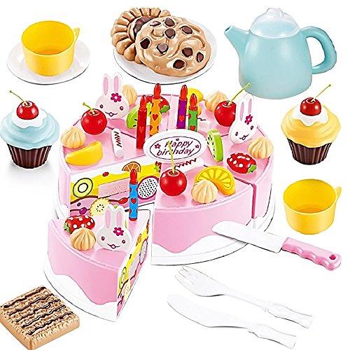 54 pezzi fai da te taglio frutta compleanno torta cibo giocattolo gioco impostato per bambini (Divertimento Cookie Cutters)