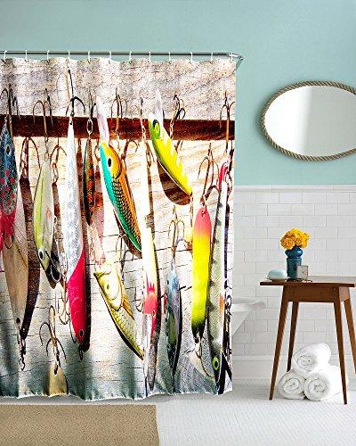 beddingleer 180x 180cm pesce esche Fishman Design Tessuto ad asciugatura rapida doccia tenda impermeabile resistente alla muffa tenda da doccia antiscivolo con ganci