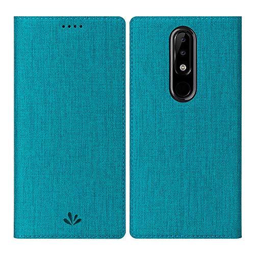 Feitenn für Nokia 5.1 Plus Hülle, dünne Premium PU Leder Flip Handy Schutzhülle | TPU-Stoßstange, Magnetverschluss, Kameraschutz- und Standfunktion Brieftasche Etui für Nokia 5.1 Plus,Blau
