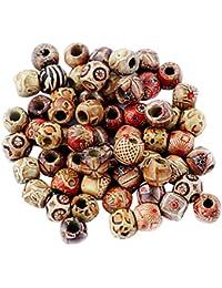 100pcs 12mm Perles Rondes en Bois pour Fabrication de Bijoux Espacement Charmes en Vrac Couleur Mélangée