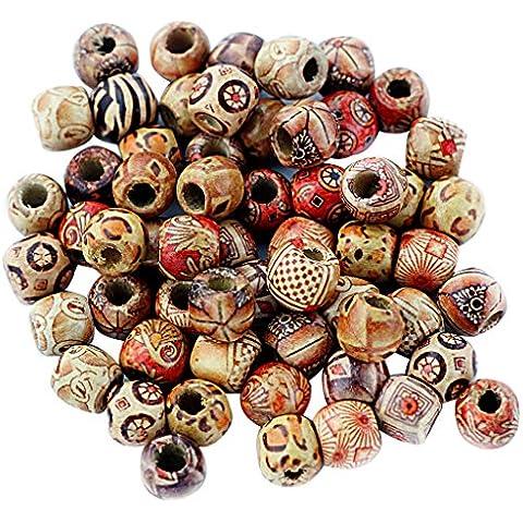 100pcs Cuentas Redondas de Madera Mezcla Bricolaje DIY Regalo Cadena Collar Joyas Perlas 12mm