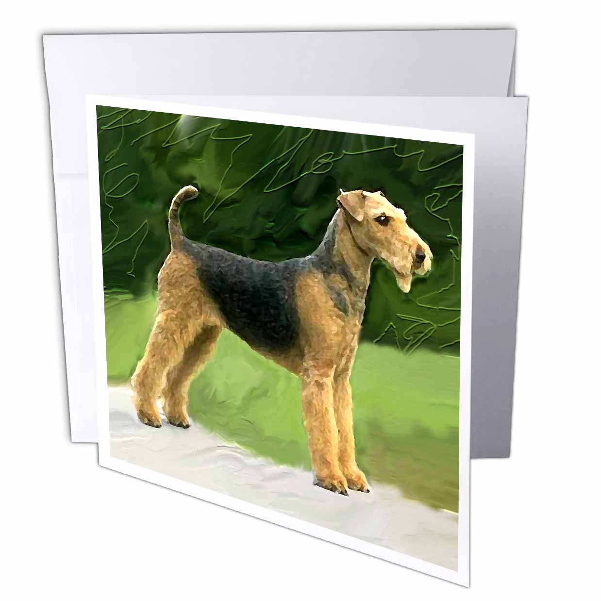 """3dRose gc_4168_5 6 x 6-Inch""""Airdale Terrier"""" Greeting Card"""