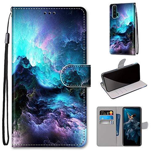 Miagon Flip PU Leder Schutzhülle für Huawei Honor 20 Pro,Bunt Muster Hülle Brieftasche Case Cover Ständer mit Kartenfächer Trageschlaufe,Wolke
