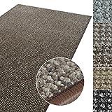 Kurzflor Teppich Carlton | Flachgewebe dezent gemustert | robuster Schlingenteppich in vielen Größen | als Wohnzimmerteppich, Küchenteppich, Schlafzimmerteppich (Braun - 80x150 cm)