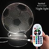 DONJON Night FUSSBALL LED Fu�ball Lampe mit Wireless-Fernbedienung 16 Farben f�r Kind Schlafzimmer - (Geburtstagsgeschenke, Weihnachtsgeschenke, usw. ) - (Fu�ball-Licht) Bild