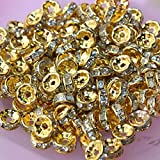 #5: 6mm stone spacer beads, gold finish, pack of 100 for jewellery making
