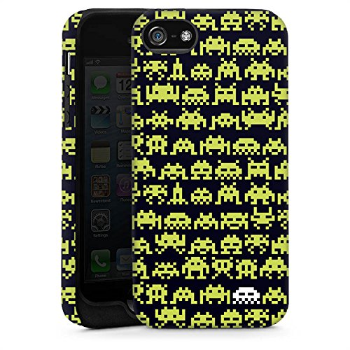 Apple iPhone 5 Housse Étui Silicone Coque Protection Sapce Invaders Alien Motif Cas Tough brillant