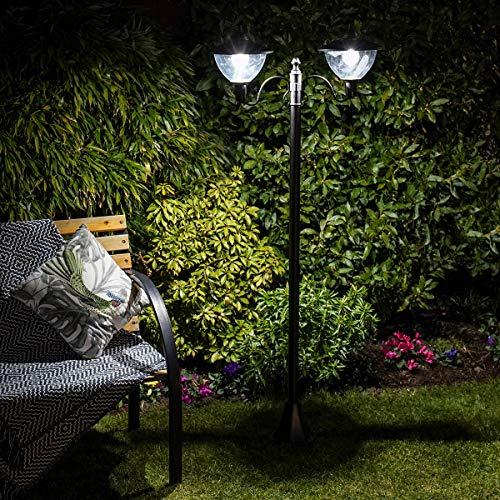 Lampadaire Solaire LED Extérieur - Design Classique ou Moderne - Tailles au Choix - Produit Waterproof pour le Jardin par Festive Lights (Moderne, 210cm - 2 Têtes)
