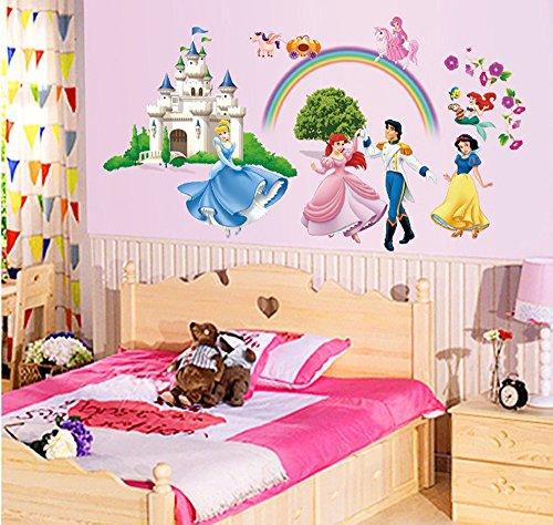 Mädchen Wandbilder Für (ufengke® Prinzessin Schloss Prinzessin und Prinz Wandsticker, Kinderzimmer Babyzimmer Entfernbare Wandtattoos Wandbilder)