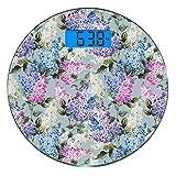 Ultraflache Runde Digital-Körpergewichtswaage aus gehärtetem Glas Mauve Präzisionssensoren Personenwaage Gewichtsmessungen Verschiedene Mix Hyacinth Garden mit Blüten und Blattzweigen Sommerpflanzen,H