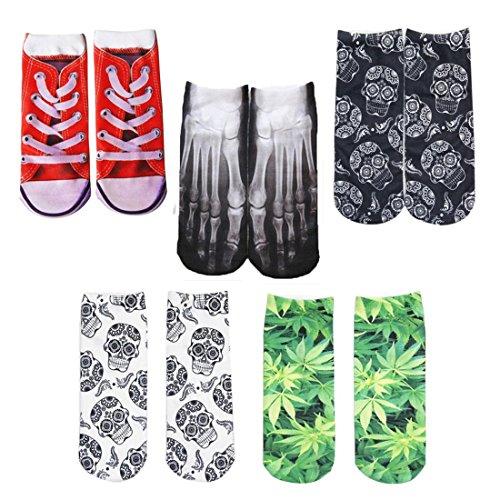 HWHColor Frauen Sneaker Low Cut No Show Socken Mädchen Lustige Socken 5er-Pack