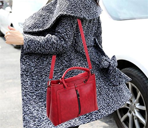 Great Strange Dame-schräges Kreuz-Paket-Art und Weise PU-lederne Handtaschen-Einkaufsarbeit Mehrfachfach Vier Farben , red red