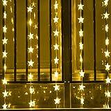 40 Led Sternenvorhang Lichterkette Lichtervorhang Strombetrieb Warmweiß Außen Innen Deko für Garten Party Hochzeit gresonic