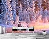Yosot 3d Winter Wälder Tanne Stream Schnee Natur Foto Fichte Tapeten Wohnzimmer Sofa Tv Wand Schlafzimmer Benutzerdefinierte Wandmalereien-350Cmx245Cm