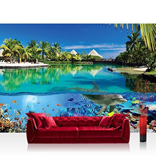 Vlies Fototapete 416x254cm PREMIUM PLUS Wand Foto Tapete Wand Bild Vliestapete - Tiere Tapete Delfin Fische Korallen Tiere Meer Palme Strand Hütten blau - no. 2044