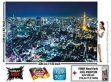 GREAT ART Foto Mural Tokio - Tapíz Imagen Noche en Tokio, Japón. Poster Mega Ciudad Torre Tokio Deco Pared (336x238cm)