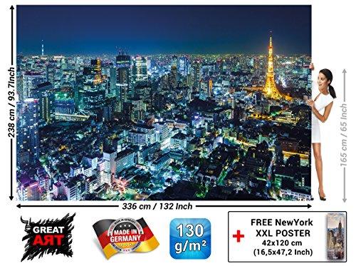 GREAT ART Fototapete - Tokyo City - Wandbild Dekoration Tokio Skyline Night Metropole Tokyo Tower Panorama Bild Japan Deko Welt-Stadt Reisen Wandtapete Fotoposter Wanddeko (336 x 238 cm) Nippon Art