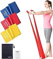 OMERIL Bande Elastiche Fitness (3 Pezzi), 1,5 m/ 2 m Fasce Elastiche con 3 Livelli di Resistenza, Fascia Elastica Esercizi Id