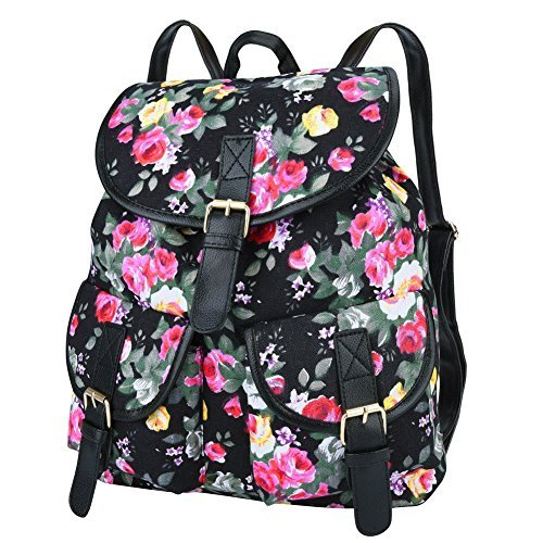 01cd362bdb Vbiger 0888916442837 Canvas Backpack For Women And Girls Boys Casual Book Bag  Sports Daypack Black Floral Bc23584- Price in India