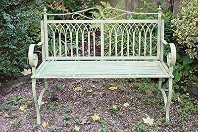 Gartenbank Bank Antik-Stil Garten Metall Eisen grün Gartenmöbel Parkbank 119cm von aubaho - Gartenmöbel von Du und Dein Garten