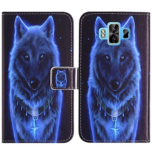 TienJueShi Wolf Flip Book-Style Brief Leder Tasche Schutz Hulle Handy Case Abdeckung Fall Wallet Cover Etui Skin Fur M-Horse Pure 1 5.7 inch