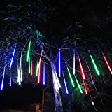 LED Meteor Shower Rain Lights, 50cm 8 Tubes 288 Leds,Drop Falling Rain Icicle Snow Fall String LED Waterproof Christmas Lights for Holiday Xmas Tree Valentine Wedding Party Outdoor Indoor Decoration (Multi-Colored, 50CM)