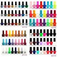 52 x Mixed Nail Polish Glitter Neon Bright Matte 48 Different Shades + 4 TopCoat