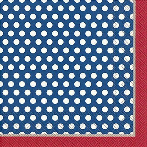 Ideal Home Serie 20-Count 3-lagig Papier Lunch-Servietten, blau Top Dots