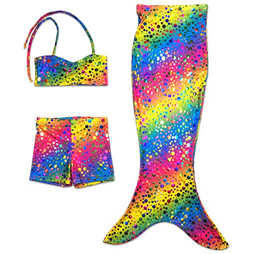 Imagen de nuevo infantil sirena cola playa disfraz bañador set de bikini  rihanna arcoiris burbujas, 8 9