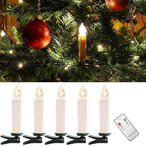 WYBAN Kabellos Fernbedienung 20er Warmweiß LED Weihnachtskerzen Lichterkette LED Kerzenlamp (20)