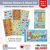 Fun Stickers Vehicles Stickers, 6 Sheets, Each sheet 14 x 7cm with Sticker Album
