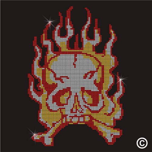 Strass Crystal Iron On T Shirt Design Transfer – Flaming Skull Crossbones (Skull T-shirt Crystal)