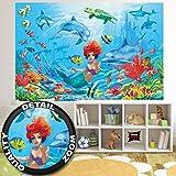 great-art Fototapete Meerjungfrau in Einer Unterwasserwelt Wand-Dekoration - Wandbild Aquarium Poster-Motiv by (210 x 140 cm)