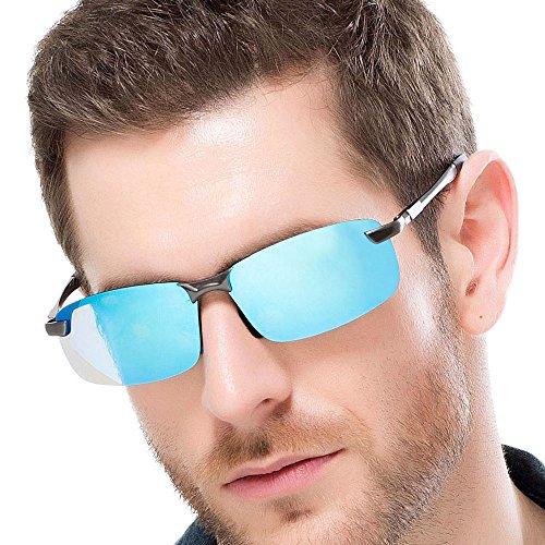 FLY HAWK Polarisierte Sport Sonnenbrille Unisex Sportbrille Fahrerbrille Sunglasses UV400 Schutz Revo Brille (blau-A3043)