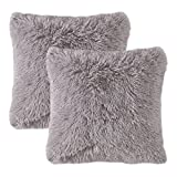 MIULEE Pack of 2 Faux Fur Throw Pillow Cover Fluffy Soft Decorative Square Pillow covers Plush Pillow Case Faux Fur Cushion Covers For Livingroom Sofa Bedroom Car 18 x 18 Inch 45 x 45 cm Grey