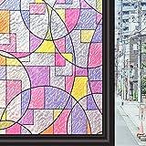 Concus-T Estática No Se Adhiere Vinilo Vinilo De Primera Calidad Ventana De Cristal Decorativo con Arte Geométrico Coloreado 90x200cm
