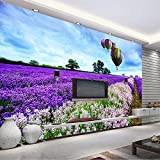 Y-Hui 3D seamless wall cloth Provence lavender field television background wall murals wedding room living room video wallpaper wallpaper,200cmx140cm